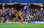 Eden Hazard of Chelsea scores their first goal with a header during the Barclays Premier League match between Chelsea and Hull City at Stamford...