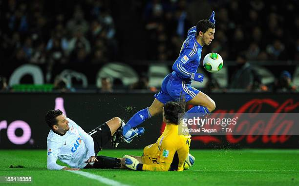 Eden Hazard of Chelsea sees his shot saved by Cassio of Corinthians during the FIFA Club World Cup Final Match between Corinthians and Chelsea at the...