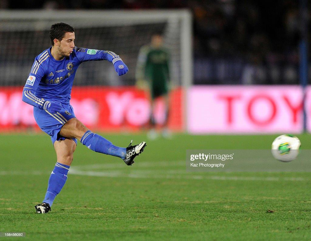 Eden Hazard of Chelsea shoots the ball during the FIFA Club World Cup Final Match between Corinthians and Chelsea at International Stadium Yokohama on December 16, 2012 in Yokohama, Japan.