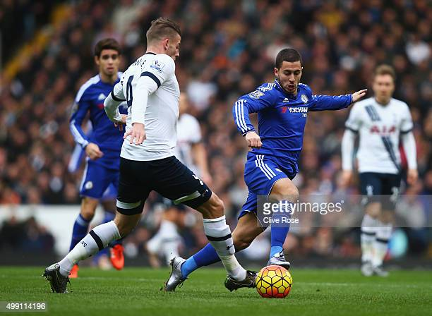 Eden Hazard of Chelsea takes on Toby Alderweireld of Tottenham Hotspur during the Barclays Premier League match between Tottenham Hotspur and Chelsea...