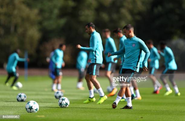 Eden Hazard of Chelsea takes part in training ahead of thier UEFA Champions League group C match against FK Qarabag at Chelsea Training Ground on...