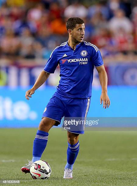 Eden Hazard of Chelsea takes the ball in the second half against the New York Red Bulls during the International Champions Cup at Red Bull Arena on...