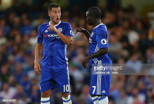 Eden Hazard of Chelsea talks to Ngolo Kante of Chelsea during the Premier League match between Chelsea and West Ham United at Stamford Bridge on...