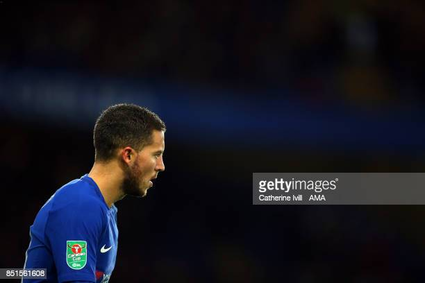 Eden Hazard of Chelsea with the cup logo badge on his sleeve during the Carabao Cup Third Round match between Chelsea and Nottingham Forest at...