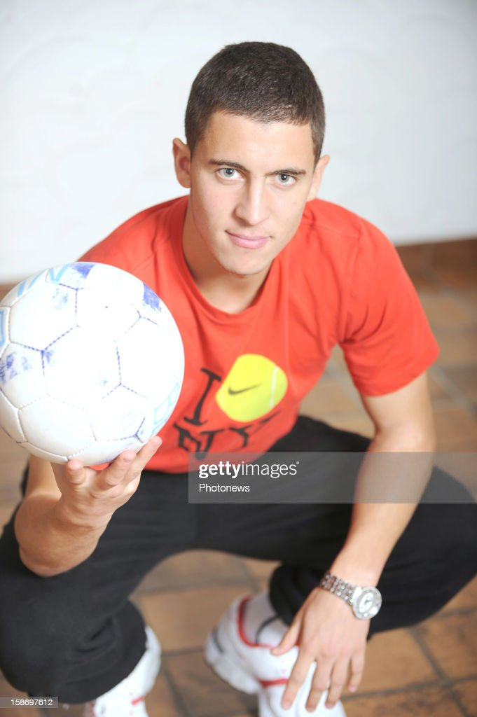 Eden Hazard (C) poses at home on August 19, 2008 in Braine-le-Compte.