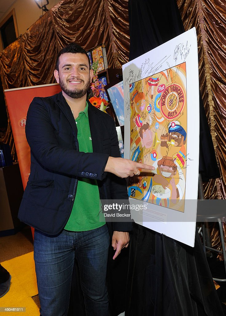 Eden Muñoz of Calibre 50 attend a gift lounge during the 14th annual Latin GRAMMY Awards at the Mandalay Bay Events Center on November 18, 2013 in Las Vegas, Nevada.