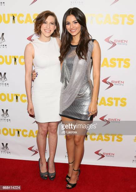 Eden Sher and Victoria Justice attend the premiere of Swen Group's 'The Outcasts' on April 13 2017 in Los Angeles California