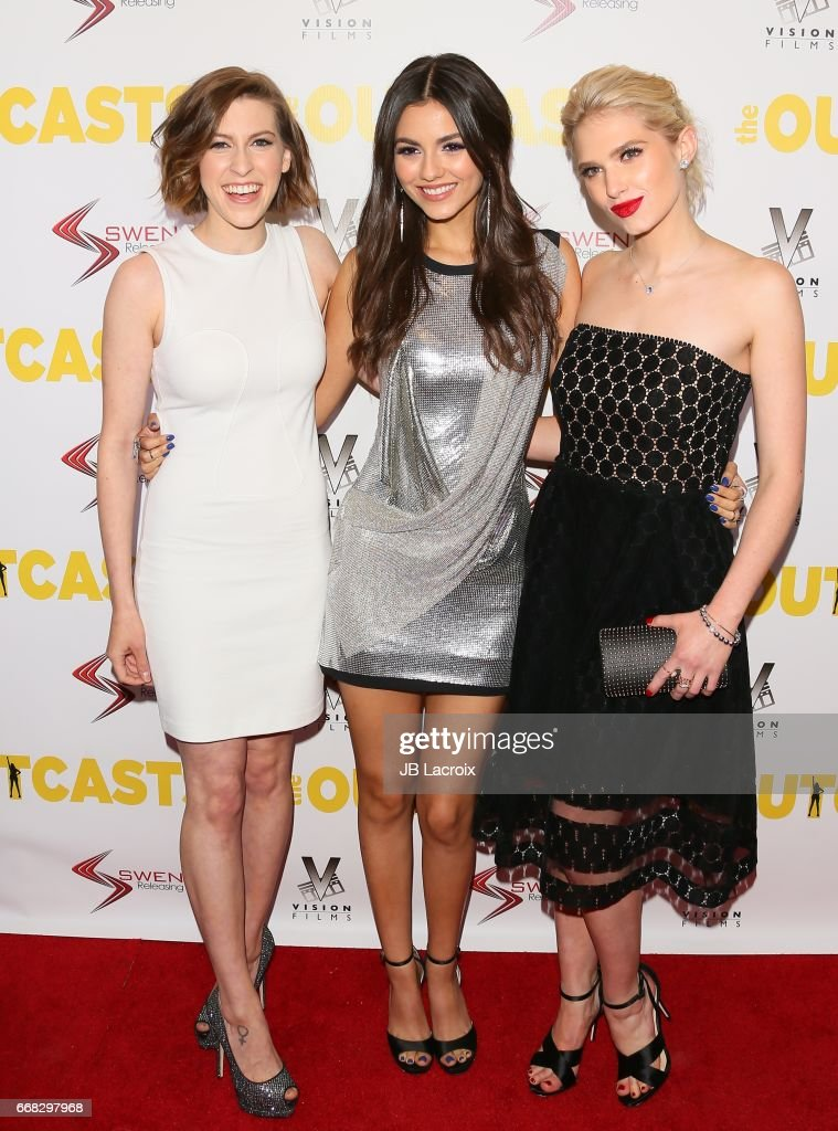 Eden Sher, Victoria Justice and Claudia Lee attend the premiere of Swen Group's 'The Outcasts' on April 13, 2017 in Los Angeles, California.