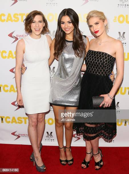 Eden Sher Victoria Justice and Claudia Lee attend the premiere of Swen Group's 'The Outcasts' on April 13 2017 in Los Angeles California