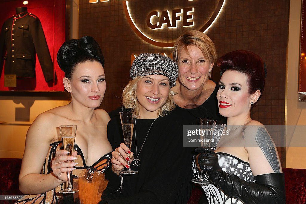 Eden, Verena Kerth, Heidi Dentzer and Lily of The Valley attend the opening of the exhibition Hard Rock Couture - Music Inspired Fashion at the Hard Rock Cafe on March 14, 2013 in Munich, Germany.