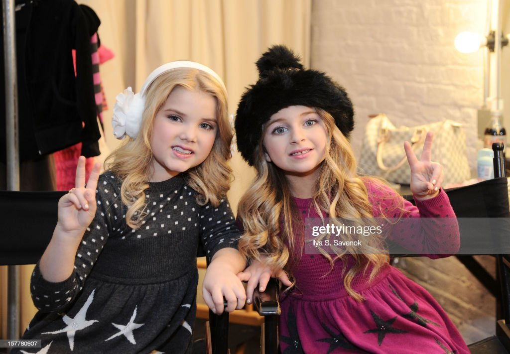 Eden Wood (L) and Isabella Barrett backstage during Eden Wood and Isabella Barrett 'LOL' Music video shoot at Picture Ray Studios on December 6, 2012 in New York City.