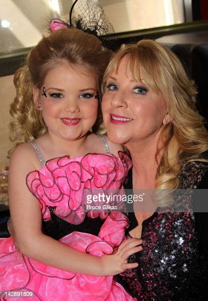 Eden Wood and mom Micki Wood pose as she promotes Logo's 'Eden's World' at Planet Hollywood Times Square on April 13 2012 in New York City