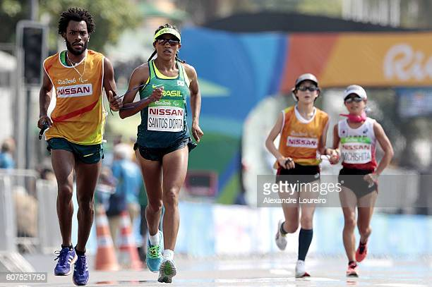 Edeneusa de Jesus dos Santos of Brazil competes in the Women's Marathon T12 at Fort Copacabana on day 11 of the Rio 2016 Paralympic Games at on...