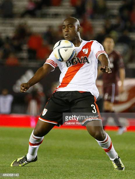 Eder Alvarez Balanta of River Plate controls the ball during a match between River Plate and Lanus as part of 25th round of Torneo Primera Division...