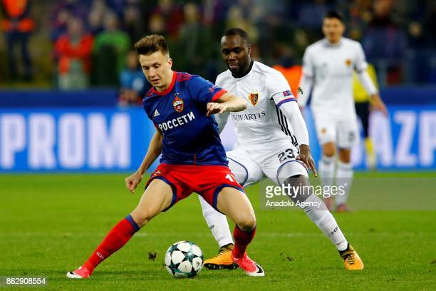 Eder Balanta of Basel in action against Aleksandr Golovin of CSKA Moscow during the UEFA Champions League Group A soccer match between CSKA Moscow...