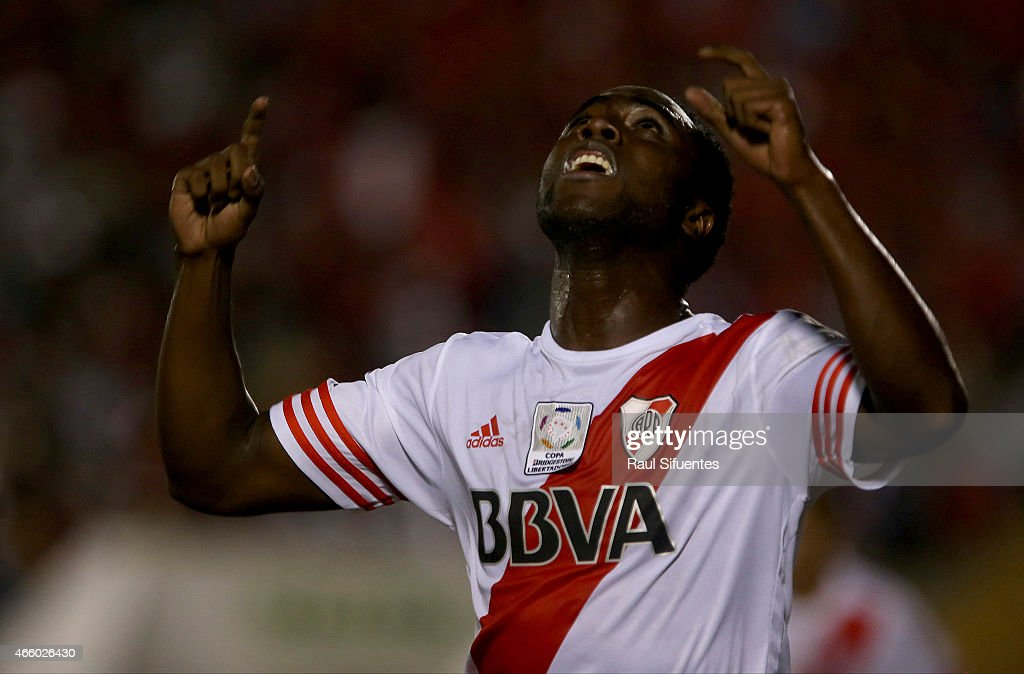 Eder Balanta of River Plate celebrates the first goal of his team against Juan Aurich during a match between Juan Aurich and River Plate as part of Copa Bridgestone Libertadores 2015 at Elias Aguirre Stadium on March 12, 2015 in Chiclayo, Peru.