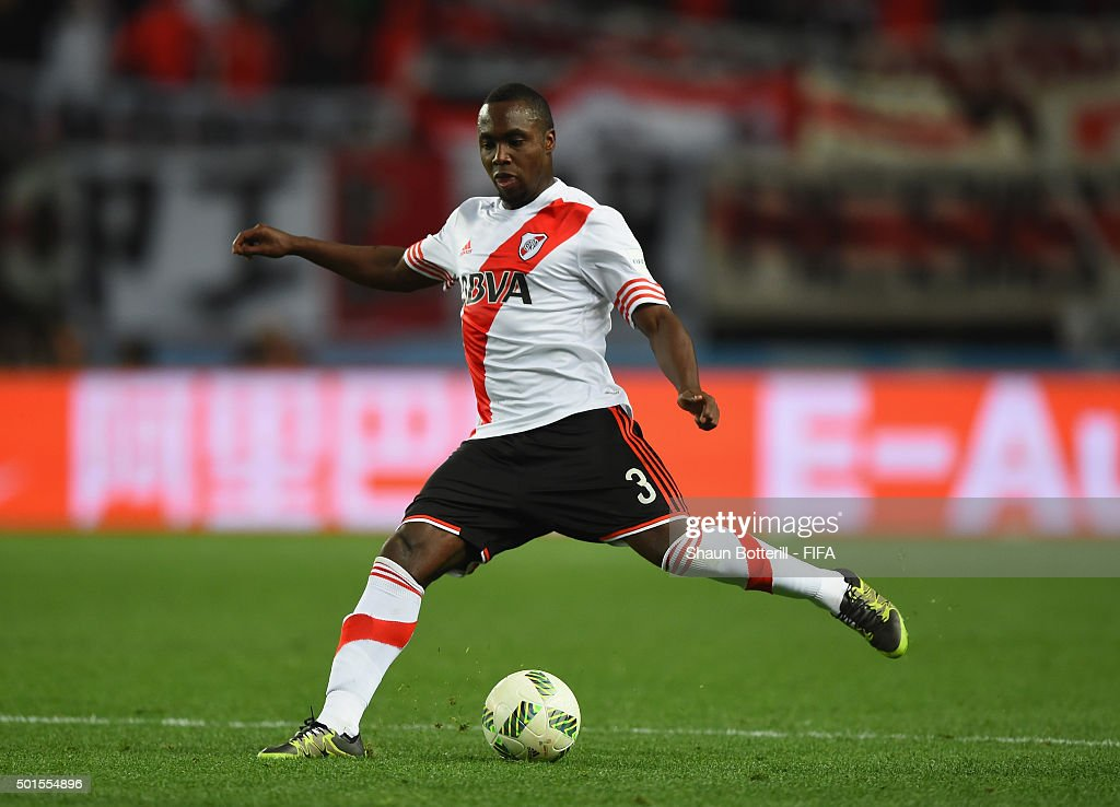 Eder Balanta of River Plate in action during the FIFA Club World Cup semi final match between Sanfrecce Hiroshima and River Plate at Osaka Nagai Stadium on December 16, 2015 in Osaka, Japan.
