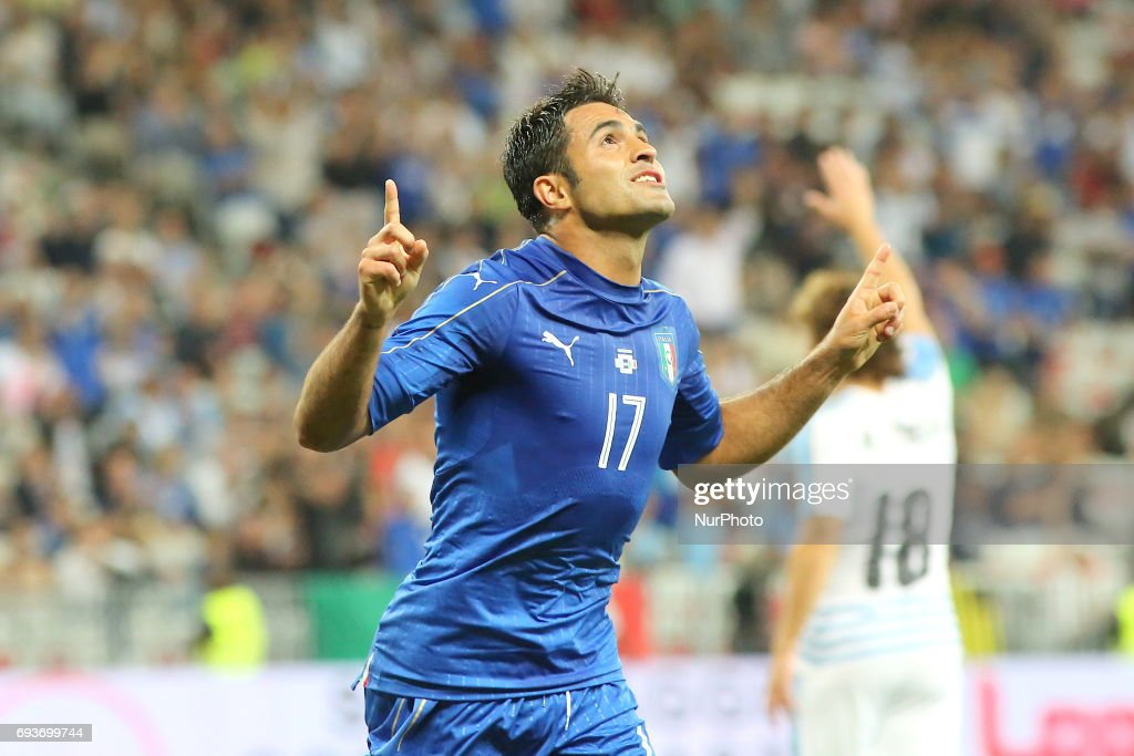 Eder Citadin Martins (Italy) celebrates after scoring during the international friendly between Italy and Uruguay at Allianz Riviera stadium on June 7, 2017 in Nice, France. Italy won 3-0 over Uruguay.