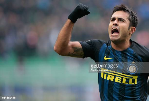 Eder Citadin Martins of FC Internazionale Milano celebrates after scoring the opening goal during the Serie A match between FC Internazionale and...