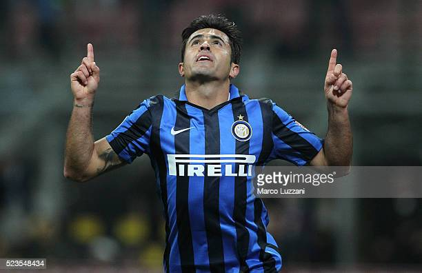 Eder Citadin Martins of FC Internazionale Milano celebrates his goal during the Serie A match between FC Internazionale Milano and Udinese Calcio at...