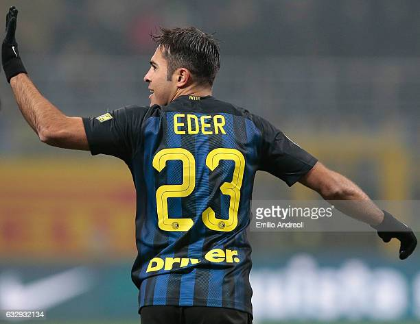 Eder Citadin Martins of FC Internazionale Milano celebrates his goal during the Serie A match between FC Internazionale and Pescara Calcio at Stadio...