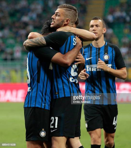 Eder Citadin Martins of FC Internazionale Milano celebrates with his teammate Davide Santon after scoring the opening goal during the Serie A match...