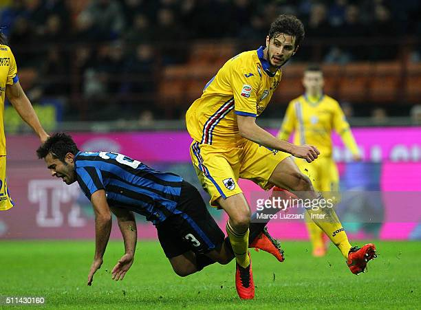 Eder Citadin Martins of FC Internazionale Milano clashes with Andrea Ranocchia of UC Sampdoria during the Serie A match between FC Internazionale...