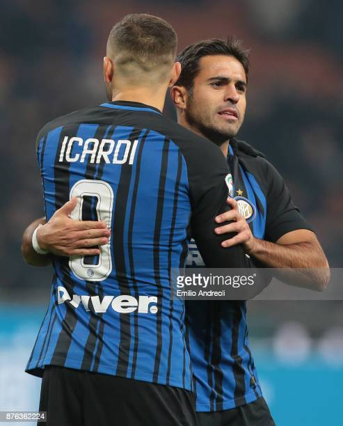 Eder Citadin Martins of FC Internazionale Milano embraces his teammate Mauro Emanuel Icardi at the end of the Serie A match between FC Internazionale...