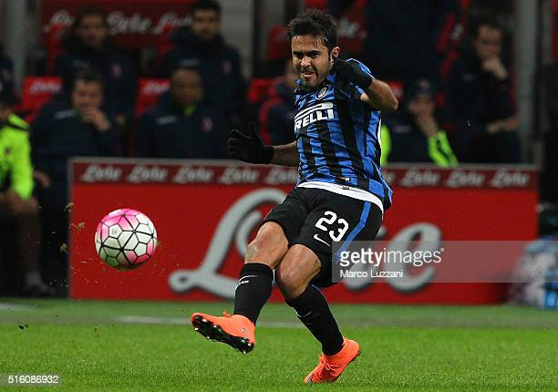 Eder Citadin Martins of FC Internazionale Milano in action during the Serie A match between FC Internazionale Milano and Bologna FC at Stadio...