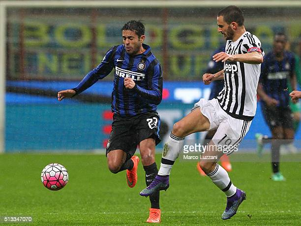 Eder Citadin Martins of FC Internazionale Milano is challenged by Leonardo Bonucci of Juventus FC during the TIM Cup match between FC Internazionale...