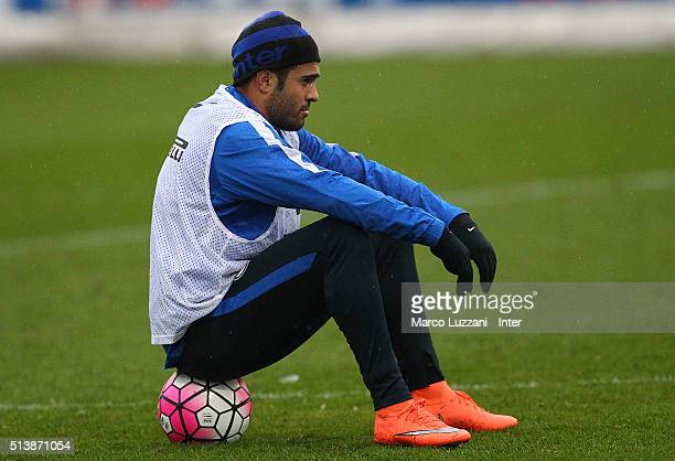 Eder Citadin Martins of FC Internazionale Milano looks on during the FC Internazionale training session at the club's training ground on March 5 2016...