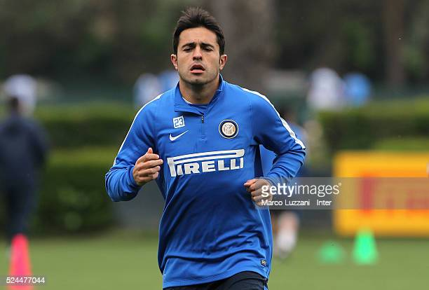 Eder Citadin Martins of FC Internazionale Milano runs during the FC Internazionale training session at the club's training ground on April 26 2016 in...