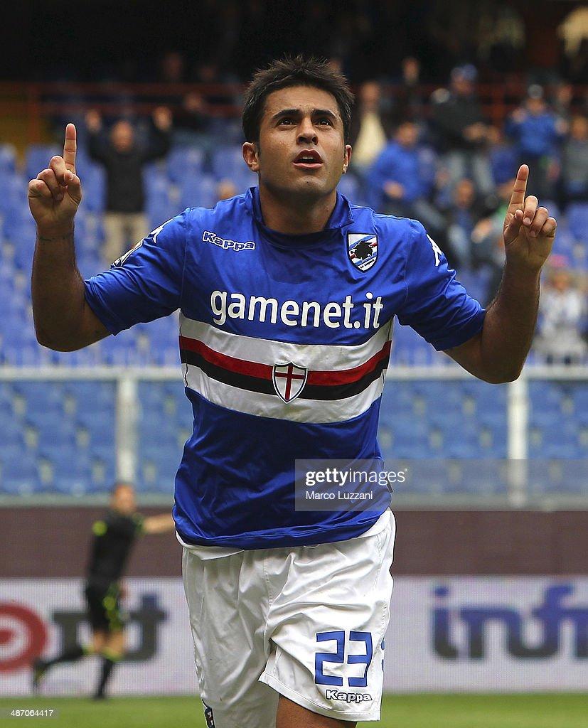 Eder Citadin Martins of UC Sampdoria celebrates his goal during the Serie A match between UC Sampdoria and AC Chievo Verona at Stadio Luigi Ferraris...