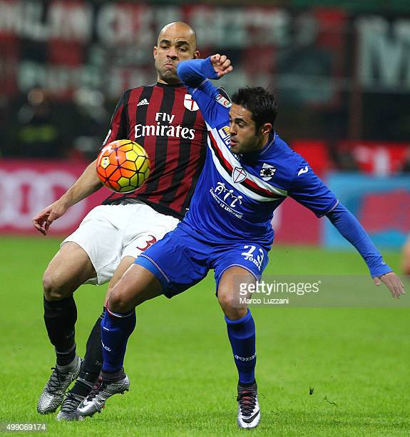 Eder Citadin Martins of UC Sampdoria competes for the ball with Alex Dias da Costa of AC Milan during the Serie A match between AC Milan and UC...