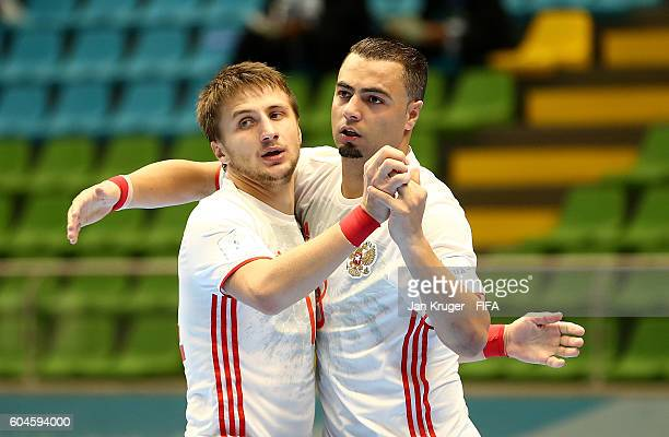Eder Lima of Russia celebrates with Danil Davydov during the FIFA Futsal World Cup Group B match between Egypt and Russia at Coliseo Ivan de Bedout...