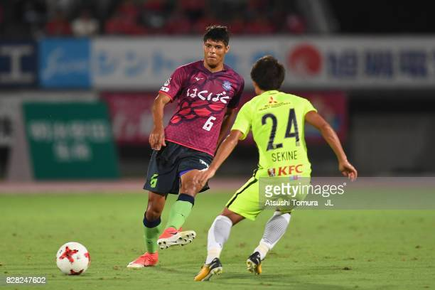 Eder Lima of Ventforet Kofu takes on Takahiro Sekine of Urawa Red Diamonds during the JLeague J1 match between Ventforet Kofu and Urawa Red Diamonds...