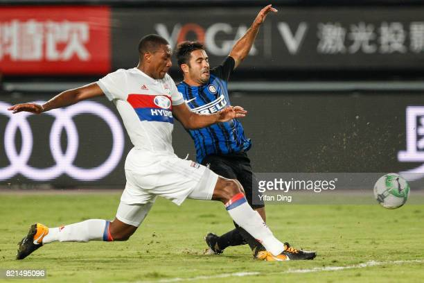 Eder of FC Internationale and Marcelo of Olympique Lyonnais fight for the ball during the 2017 International Champions Cup football match between FC...