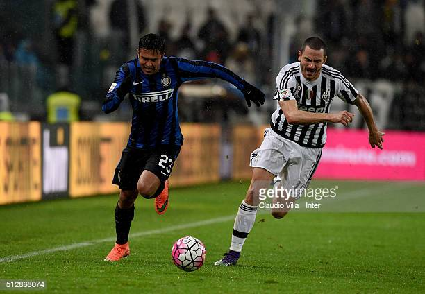 Eder of FC Internazionale and Leonardo Bonucci of Juventus compete for the ball during the Serie A match between Juventus FC and FC Internazionale...