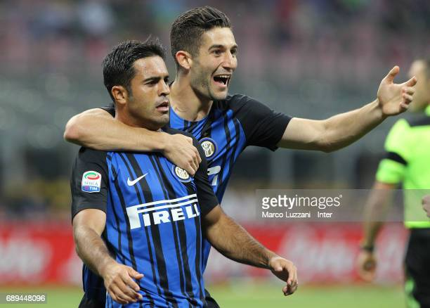 Eder of FC Internazionale celebrates with Roberto Gagliardini after scoring the opening goal during the Serie A match between FC Internazionale and...