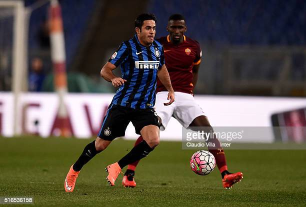 Eder of FC Internazionale in action during the Serie A match between AS Roma and FC Internazionale Milano at Stadio Olimpico on March 19 2016 in Rome...