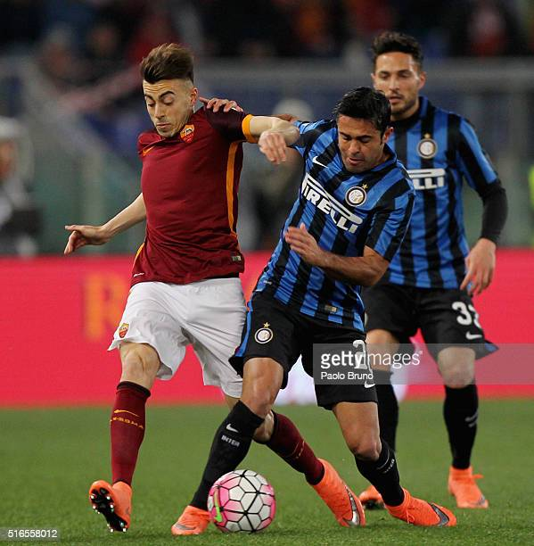 Eder of FC Internazionale Milano competes for the ball with Stephan El Shaarawy of AS Roma during the Serie A match between AS Roma and FC...