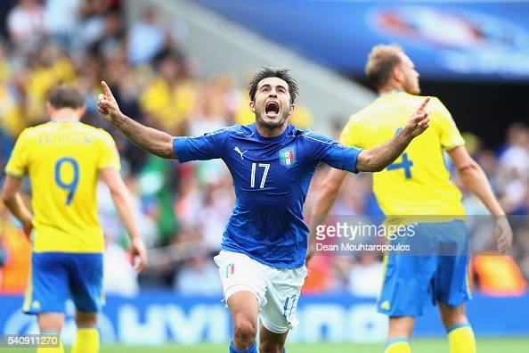 Eder of Italy celebrates after he scores his sides first goal during the UEFA EURO 2016 Group E match between Italy and Sweden at Stadium Municipal...