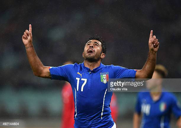 Eder of Italy celebrates after scoring the opening goal during the UEFA Euro 2016 qualifying football match between Azerbaijan and Italy at Olympic...