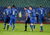 Eder of Italy celebrates after scoring the scond goal during the Euro 2016 Qualifier match between Bulgaria and Italy at Vasil Levski National...