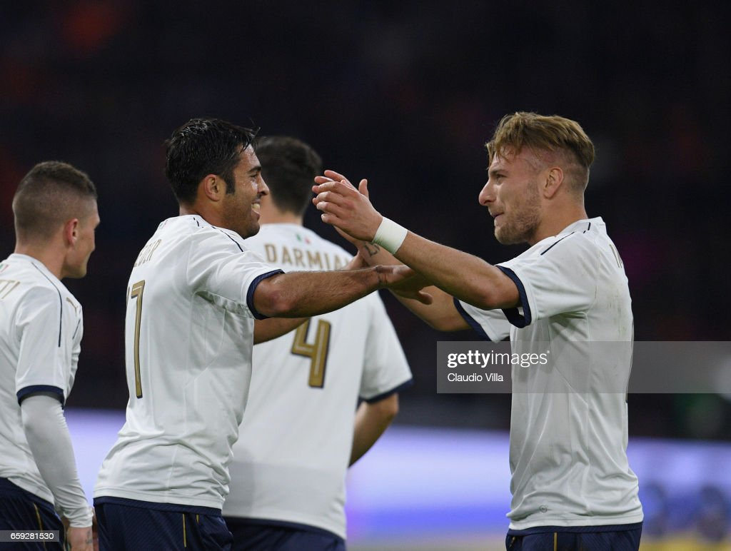 Eder of Italy celebrates with Ciro Immobile after scoring the goal during the international friendly match between Netherlands and Italy at Amsterdam Arena on March 28, 2017 in Amsterdam, Netherlands.