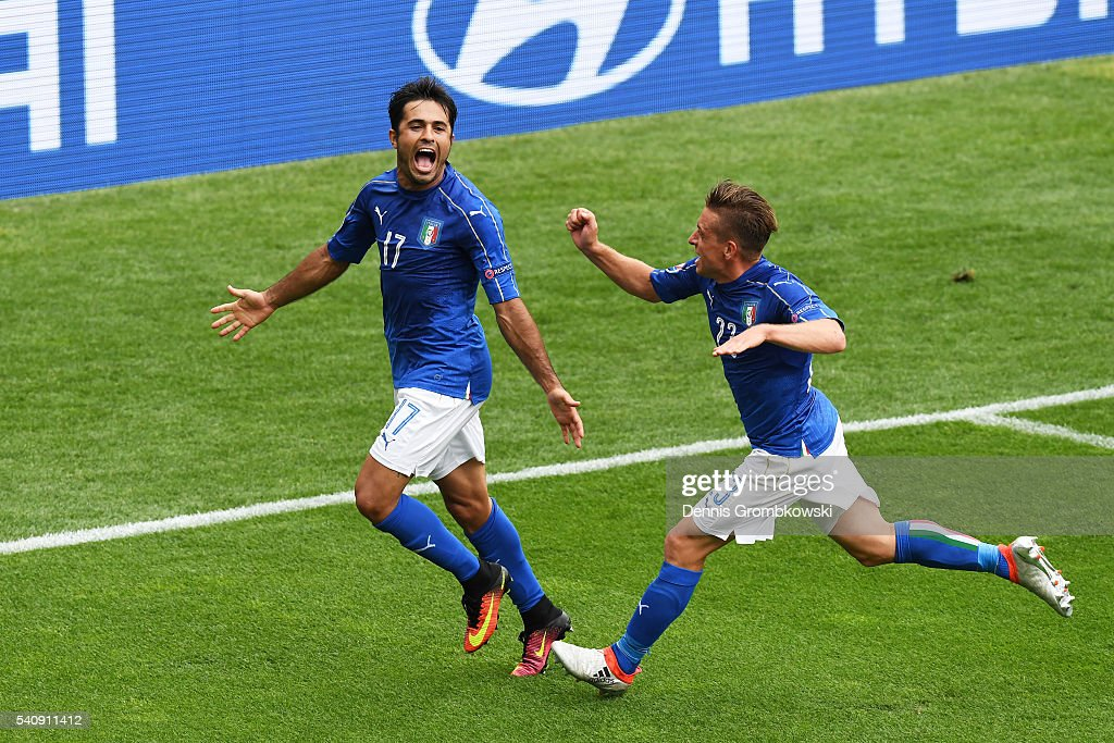 Eder of Italy celebrates with <a gi-track='captionPersonalityLinkClicked' href=/galleries/search?phrase=Emanuele+Giaccherini&family=editorial&specificpeople=6675873 ng-click='$event.stopPropagation()'>Emanuele Giaccherini</a> of Italy after he scores his sides first goal during the UEFA EURO 2016 Group E match between Italy and Sweden at Stadium Municipal on June 17, 2016 in Toulouse, France.