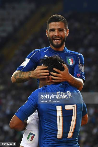 Eder of Italy celebrates with Lorenzo Insigne after scoring the third goal during the FIFA 2018 World Cup Qualifier between Italy and Liechtenstein...