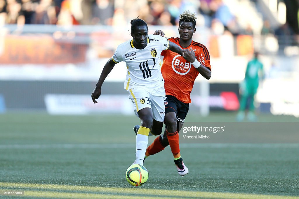 Eder of Lille and Didier NDong of Lorient during the French Ligue 1 match between Fc Lorient and Lille OSC at Stade du Moustoir on April 30 2016 in...