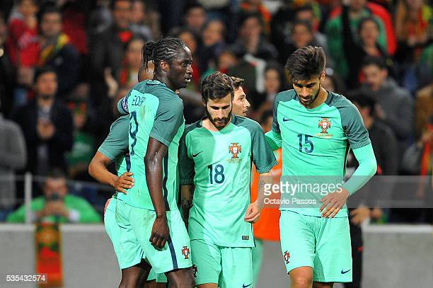 Eder of Portugal celebrates the third goal against Norway with teammates during the International Friendly match between Portugal and Norway at...