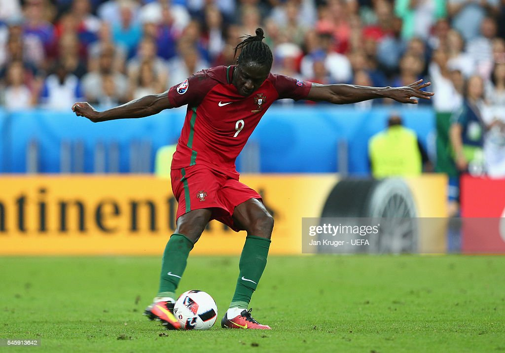 Eder of Portugal scores the opening goal during the UEFA EURO 2016 Final match between Portugal and France at Stade de France on July 10, 2016 in Paris, France.